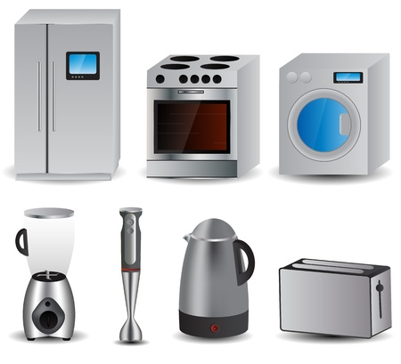 microwave stove: set of of household appliances Illustration