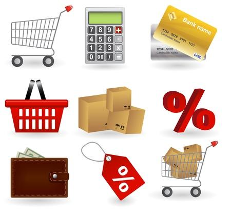 Shopping icons set Stock Vector - 13900242