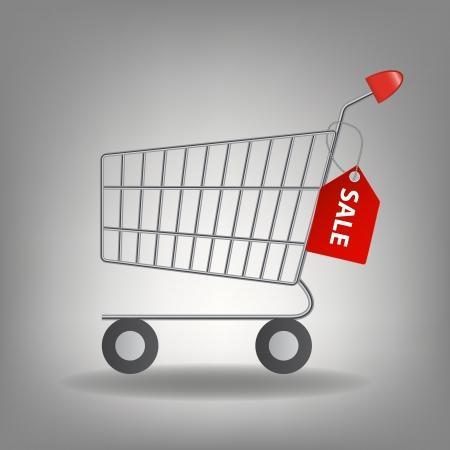 supermarket shopping cart: Ilustraci�n del vector del icono del carrito de compras de supermercados vac�os aislados en fondo blanco
