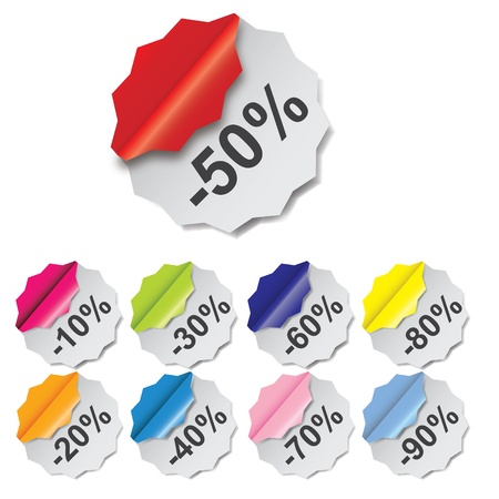 Paper Discount labels with different corner illustration Stock Vector - 14039748