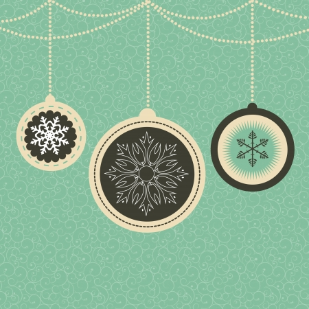 Christmas card with balls and snowflakes  vector illustration Vector