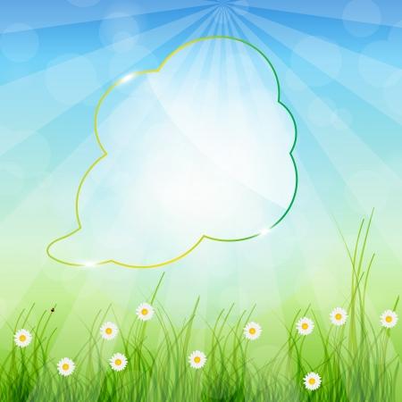 nature background: Glass speech bubble ob nature background  Vector illustration