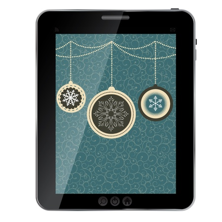 Christmas card with balls and snowflakes on tablet.  Vector