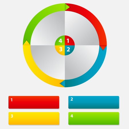 round frame: Concept of colorful circular banners with arrows for different business design. Vector illustration