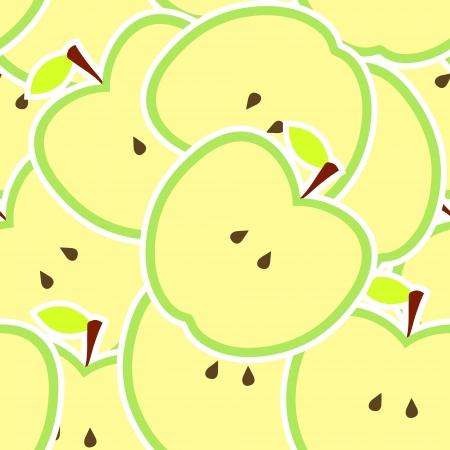 fruit stem: Apple vector illustration seamless pattern Illustration