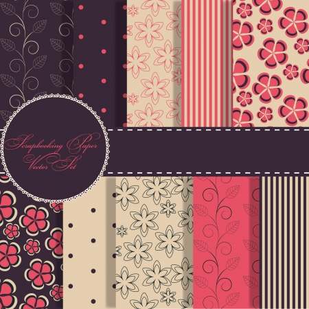 compendium: set of beaautiful vector red and blue paper for scrapbook