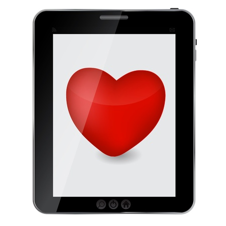 Heart icon on abstract design tablet pc. Vector illustration Vector