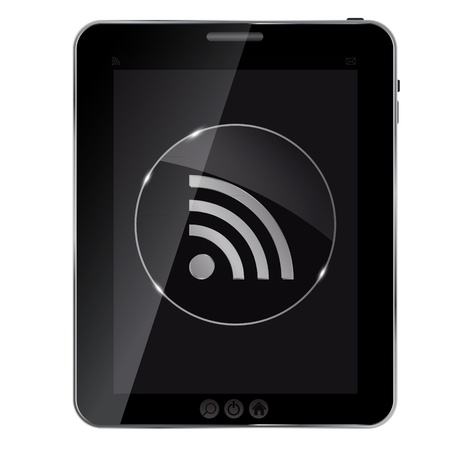 really simple syndication: Glass rss button icon on abstract tablet. Vector illustration
