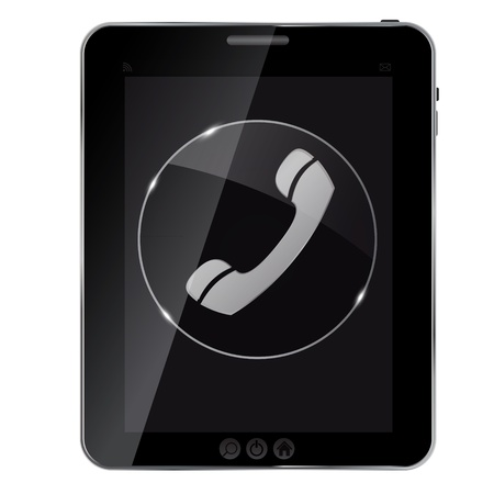 ivories: Glass phone button icon on abstract tablet. Vector illustration