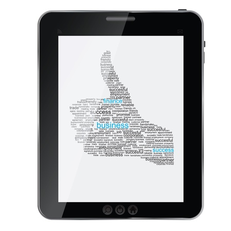 Illustration of the thumbs up symbol, which is composed of words on business themes on abstract tablet. Vector illustration. Stock Vector - 14209775