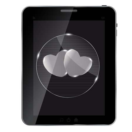 appraisal: Heart glass Button on tablet. vector illustration