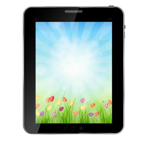 ecologic: Un ecol�gica abstracta Tablet PC ilustraci�n Vectores