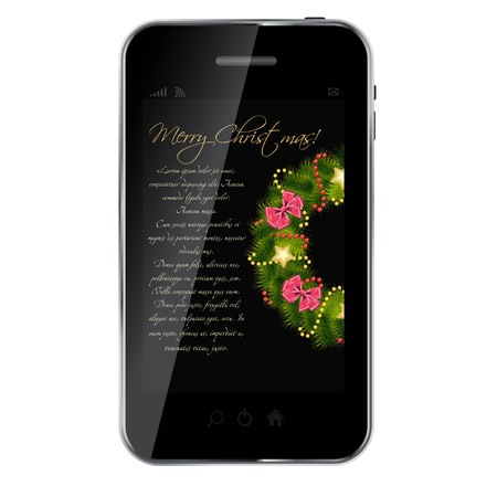 Realistic Christmas wreath on vintage background at abstract desig mobile phone. vector illustration Vector