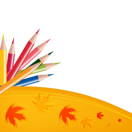 Abstract background with color pencils and leaves  Back to school concept  Vector