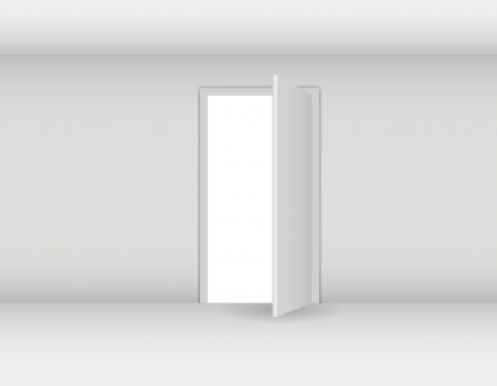 Open white door on a white wall vector illustration Vector