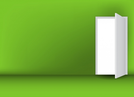 Open white door on a green wall vector illustration