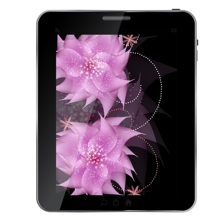 Tablet with flowers  icon vector illustration Vector