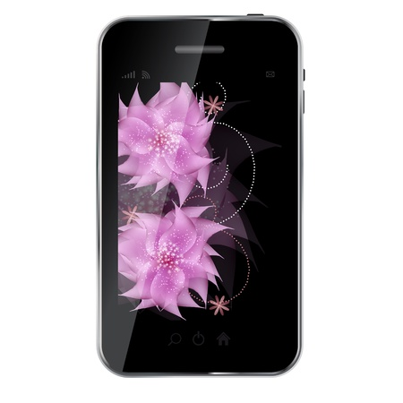 Romantic Flower vector Background on abstract design mobile phone. Vector illustration Vector