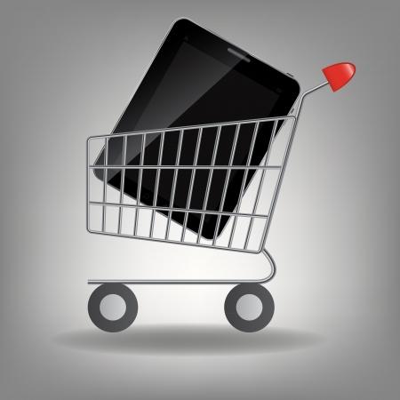 supermarket shopping cart: Ilustraci�n vectorial de carrito de supermercado de compras con la tableta icono