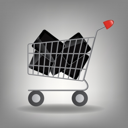 supermarket shopping cart: Ilustraci�n vectorial de carrito de supermercado de compras con icono de la tableta aisladas sobre fondo blanco.