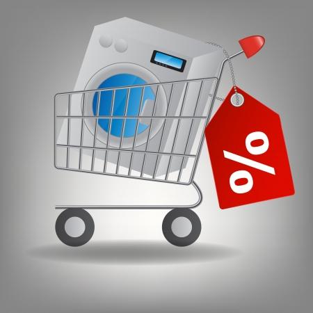 supermarket shopping cart: Ilustraci�n vectorial de carrito de supermercado de compras con lavadora Vectores