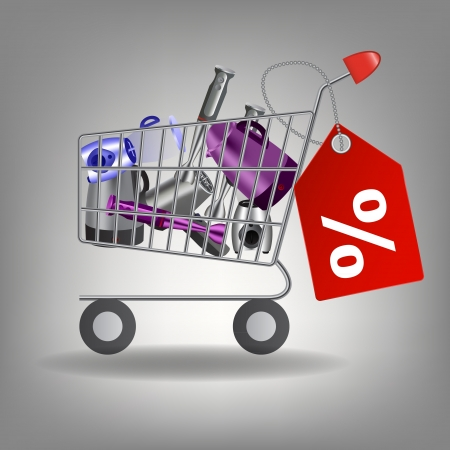 supermarket shopping cart: Ilustraci�n vectorial de carrito de supermercado de compras con utensilios de cocina