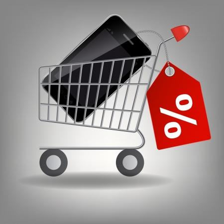 supermarket shopping cart: Ilustraci�n vectorial de carrito de supermercado de compras con el tel�fono m�vil