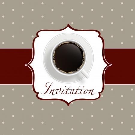 checkered label: coffee invitation background