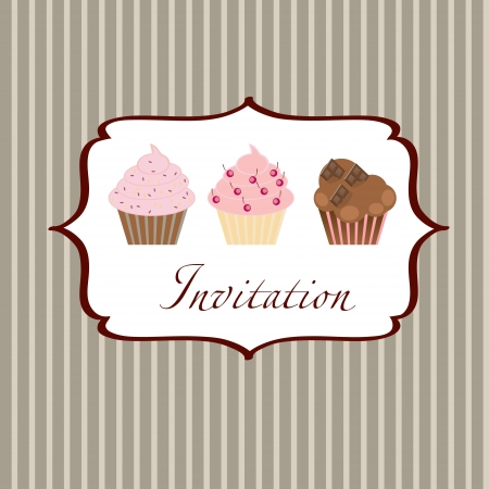 chocolate cupcakes: cupcake invitation background Illustration