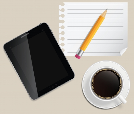 coffee cup with abstract tablet vector illustration on business theme Vector