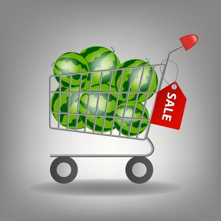 supermarket shopping cart: Ilustraci�n vectorial de carro lleno compras en el supermercado con la sand�a