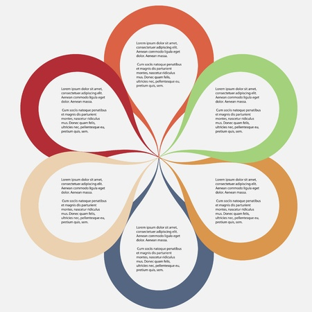 design process: Concept of colorful circular banners in flower form for different business design  Vector illustration
