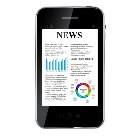 pile of newspapers: Abstract design mobile phone with news concept  Illustration