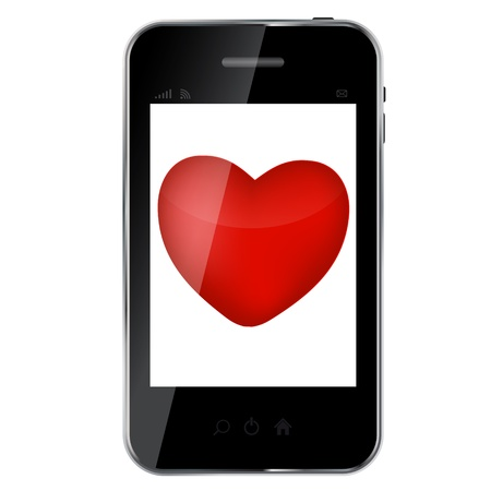 Abstract design mobile phone with heart love concept Stock Vector - 14553541