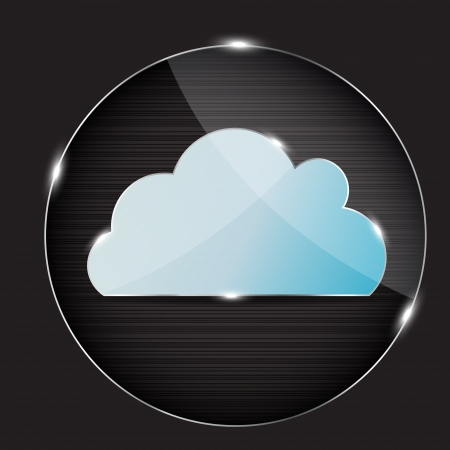 cloud computing: glass button with cloud icon