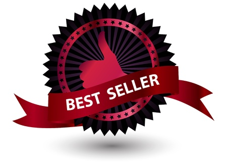 Best Seller label with red ribbon. Stock Vector - 14606988