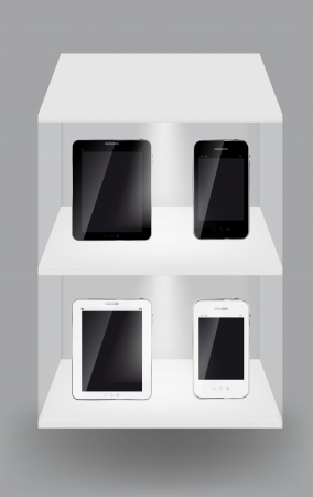 Abstract design tablet and mobile phone on white shelves on light grey background  illustration Vector