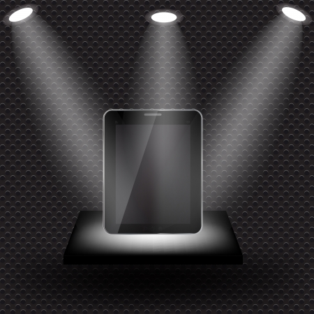 Abstract design tablet on  black shelve on metal background with lights  illustration Vector