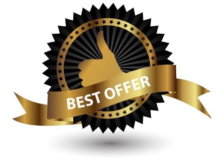 premi: Vector etichetta Migliore Offerta con nastro rosso.