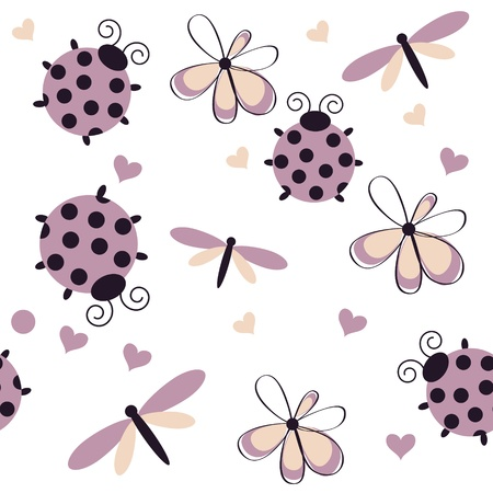 Romantic seamless pattern with dragonflies, ladybugs, hearts and flowers on a white background Vector