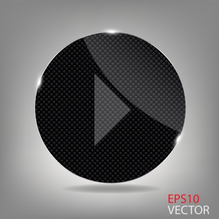 Glass button media icon    illustration Vector