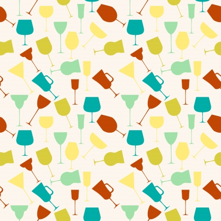 Seamless background pattern of retro alcoholic glass