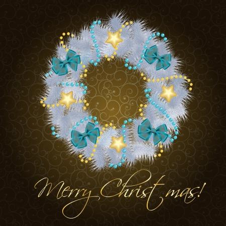 fir tree balls: Realistic christmas wreath on vintage background  illustration Illustration