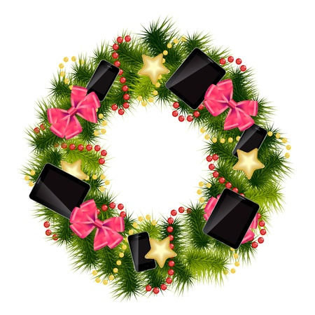 Realistic christmas wreath wih phones and tablets on vintage background  Vector