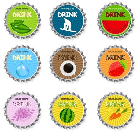 Set of bottle caps Vector