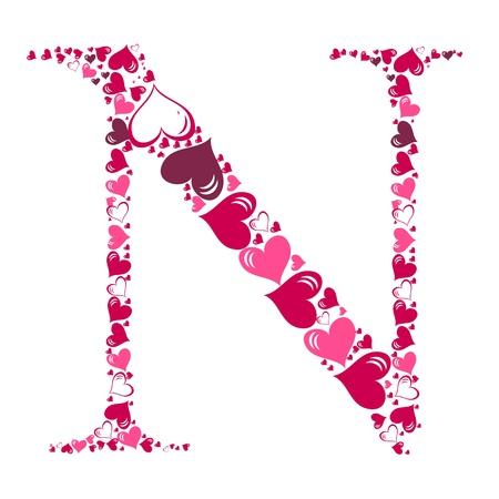 Alphabet of hearts illustration Vector
