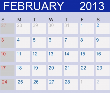 Calendar 2013. February.  Vector