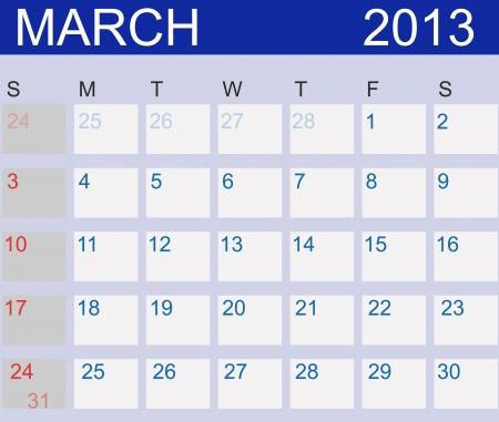 Calendar 2013. March.  Stock Vector - 15190487