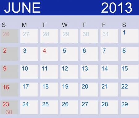 Kalender 2013. Juni. Stockfoto - 15190481
