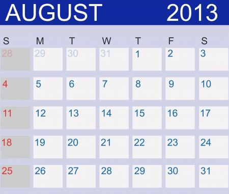 Calendar 2013. August.  Vector